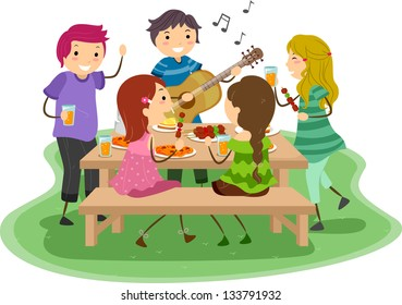 Illustration of People having a Barbeque Party