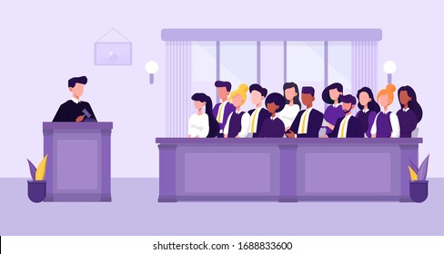 Illustration of people, judge and courthouse in jury trial concept. Vector Illustration