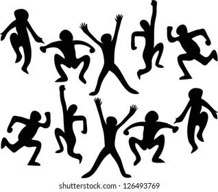 Illustration of people jumping