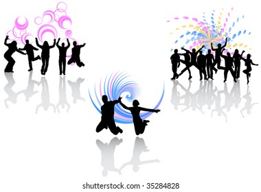 Illustration of people jumping and abstract