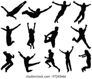 Illustration of people jumping and flying, silhouettes