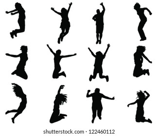 Illustration of people jumping-silhouettes