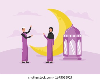 illustration of people meet in front of moon and lantern, they celebrate the holy month of ramadan 1441 H in 2020. muslim man, woman wearing culture cloth, hijab. islamic vector greeting card