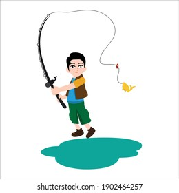 illustration people and occupation: fisherman