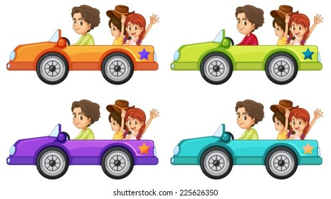 Illustration of people on a car ride