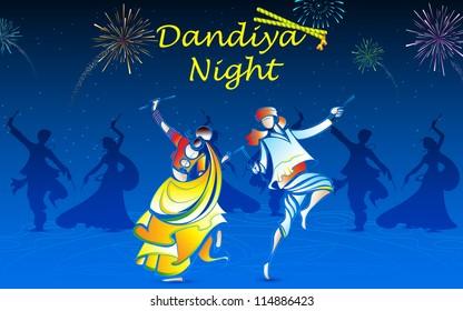 illustration of people playing dandiya in navratri