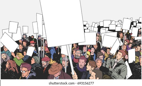 Illustration of people protesting with blank signs and banners in color