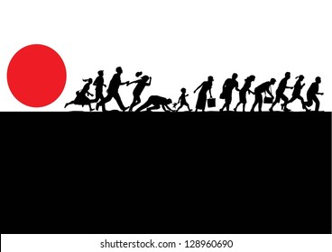 Illustration of people running away from disaster, vector