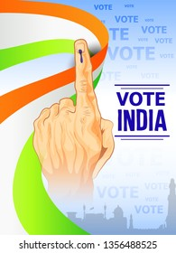 illustration of People showing voting finger for india  tricolour background