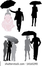 illustration with people silhouettes under umbrella