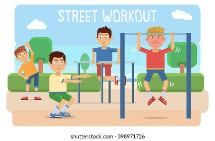 Illustration of people taking physical activity in outdoor park. Training, exercises, physical education lesson, street workout. Flat style vector illustration.