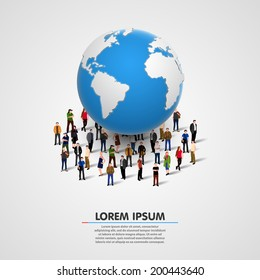 illustration of people under planet earth. vector illustration
