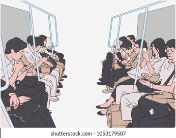 Illustration of people using public transport, train, subway, metro