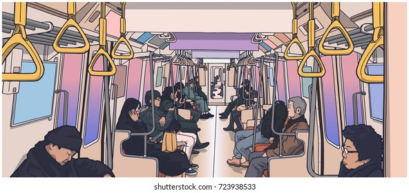 Illustration of people using public transport; train, subway, metro in color