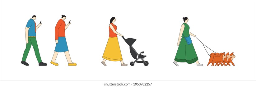 Illustration of people walking using smartphones, with dog and with baby cart.
