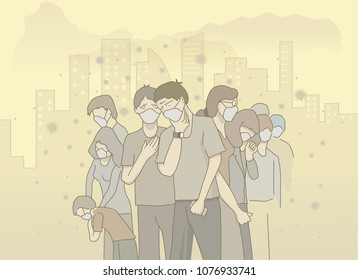 illustration of people wear mask avoid air pollution. hand drawn style vector doodle design illustrations.