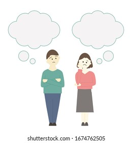 Illustration of people who are in trouble. man and woman with speech bubbles