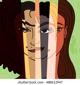 Illustration of a people's faces with different skin color together. Race equality, tolerance.