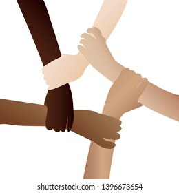 Illustration of a people's hands with different skin color together holding each other. Race equality, tolerance art in minimal style.