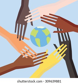 Illustration of a people's hands with different skin color together. Race equality, tolerance illustration.
