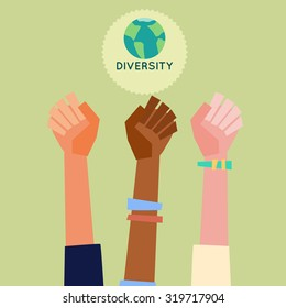 Illustration of a people's hands with different skin color together. Race equality, diversity, tolerance illustration. Flat design style.
