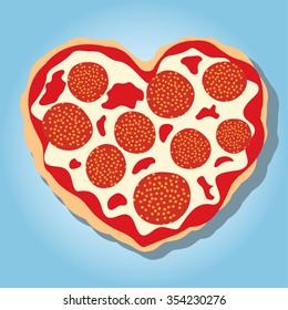 Illustration of pepperoni pizza heart