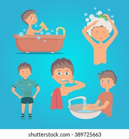Illustration of a person doing hand hygiene.