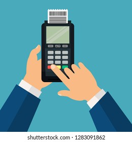 Illustration of a person hands using a dataphone.POS terminal with check. Flat design. Vector illustration. EPS10.