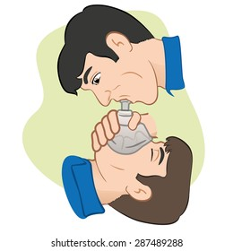 Illustration of a person with respiratory arrest being revived with the help of a pocket mask to help with breathing. Ideal for Medical Supplies, institutional and educational.