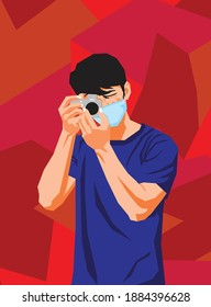An illustration of a person taking a photo and wearing a mask