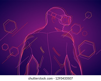 Illustration of a person with a virtual reality headset. Glasses that allow users into the virtual world. Device for computer gamers and cyber sport industry.