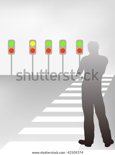 Illustration of a person wants to cross the street but confused.