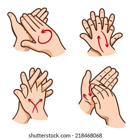 Illustration of a person washing their hands in four steps, nail, palm, between fingers and the top