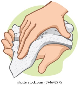 Illustration of a person wiping and wiping his hands with a paper towel or napkin, caucasian. Ideal for institutional materials and catalogs