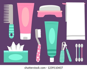 Illustration of Personal Hygiene Elements from Comb, Soap, Toothbrush, Tissue, Nail Clipper, Towel and Cotton Buds