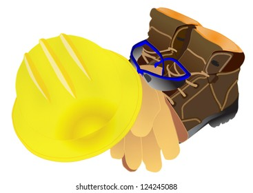 illustration of personal protective equipment including leather boots, safety glasses, gloves and hardhat