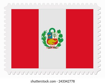 illustration Peru flag stamp