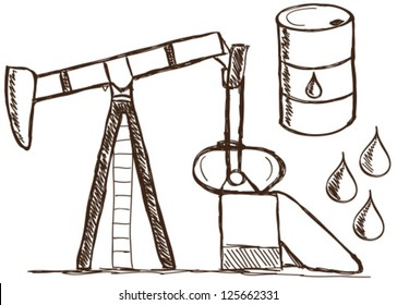 Illustration of petrol doodle drawings on white background