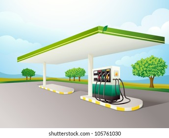 illustration of a petrol pump on a road