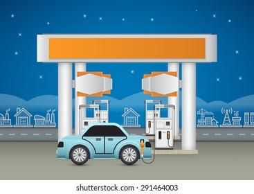 Illustration of petrol station and car, blue background.