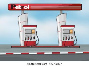 Illustration of petrol station on blue background
