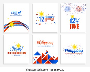 Illustration of Philippines Independence Day Background,Poster Or Banner Set Template.
