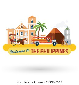 Illustration of the Philippines's landmarks and icons, vector