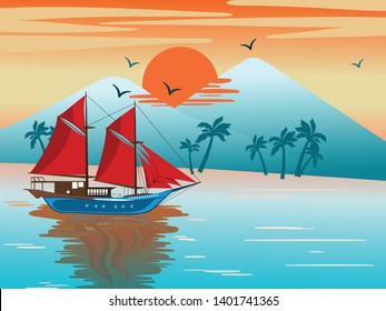 Illustration of Phinisi sailing ship on the beach. Vector illustration. Illustration of landscape, beach, island. Summer