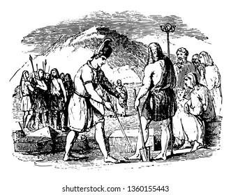 An illustration of Phoenicians establishing Argos, vintage line drawing or engraving illustration.