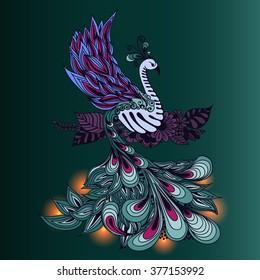 Illustration of Phoenix Bird. Fire bird with lights on its tale.