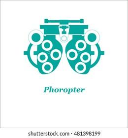 Illustration of phoropter. Vector. Optician, ophtalmology, vision correction, eye test, eye care, eye diagnostic