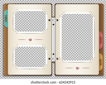 Illustration of a photo album in which you can insert your own photos