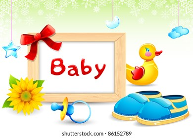 illustration of photo frame with toy duck and baby shoe