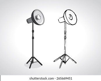 illustration of photo studio beauty dish on stand with a black outline isolated on white
